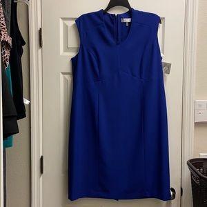 Kasper blue sleeveless sheath dress 18W